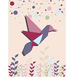 Single Origami hummingbird in pink vector image