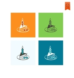 Slice of Cake with Candle vector image
