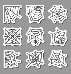 spider web icon sticker set black on white vector image