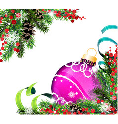 spruce branches and purple christmas ball vector image