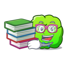 Student with book shrub mascot cartoon style vector