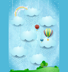 Surreal landscape with rain and hot air balloons vector