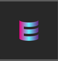 tech logo e letter trendy cyber gradient color 3d vector image