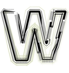 Technological font LETTER W vector