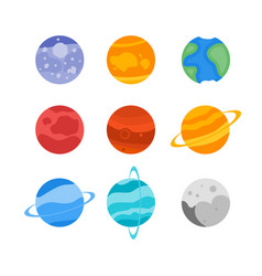 The planets of the solar system set icon mercury vector