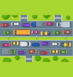 traffic jam highway top view trucks cars on road vector image