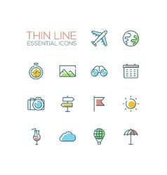 Travel Symbols - thick line design icons set vector