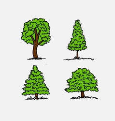 trees with leaves in vector image