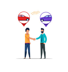 Two man handshaking carsharing rental cooperation vector