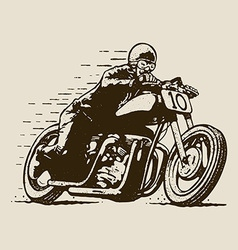 Vintage cafe racer motorcycle racing vector