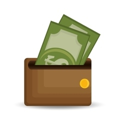 Wallet save money dollar bills icon vector