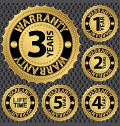 Warranty golden label set vector