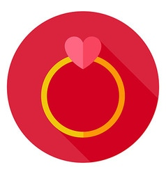 Wedding Ring with Heart Circle Icon vector image