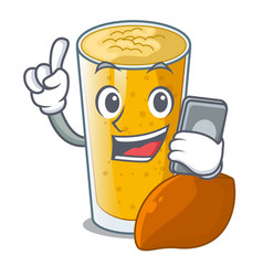 With phone lassi mango in a cartoon glass vector
