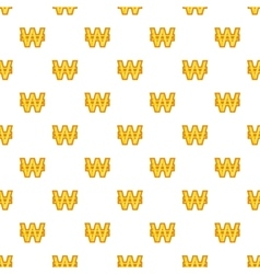 Won currency symbol pattern cartoon style vector image