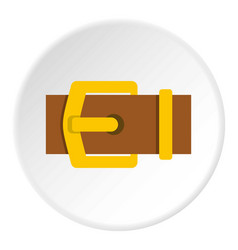 Yellow metal belt buckle icon circle vector