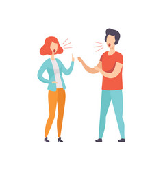 Young couple quarreling family conflict vector