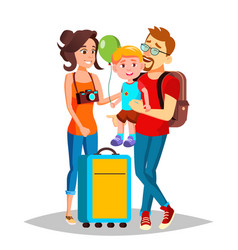 young family traveling with a small child vector image