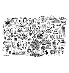 Business doodle set vector image vector image