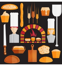 flat design icons of bakery theme vector image vector image