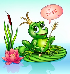 frog princess on a leaf with vector image