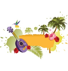 Tropical Banner With Palm Trees Ukulele and Flower vector image
