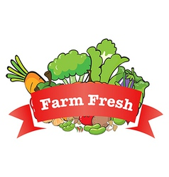 A farm fresh label with fresh vegetables vector image vector image