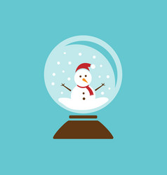 colored glass ball icon with snow and snowman vector image vector image