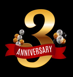 golden 3 years anniversary template with red vector image vector image
