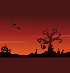 halloween scenery silhouette style background vector image