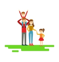 Parents And Kids Holding Hands In Park Happy vector image