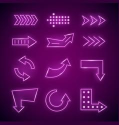 realistic detailed 3d neon arrow set vector image vector image