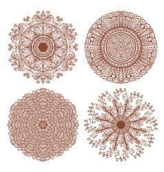 Set of four hand drawn ornaments vector image