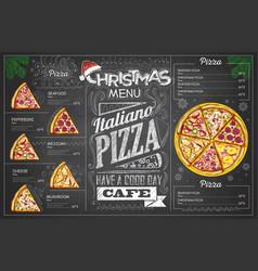 vintage chalk drawing christmas pizza menu design vector image vector image