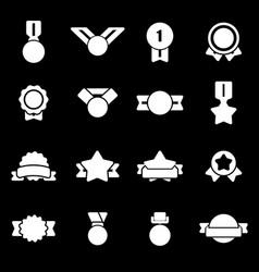 White award medal icons set vector