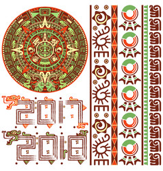 aztec calendar with ornaments vector image