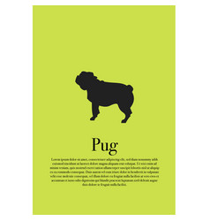 dog pug silhouette poster vector image vector image