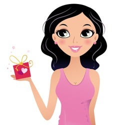 Happy Girl holding gift box isolated on white vector image vector image