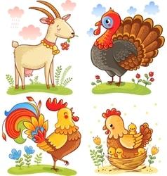 Farm animal collection set vector image vector image