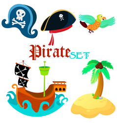 set of pirate objects - vector image vector image