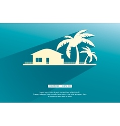 Styled bungalows and palm trees white with flat vector image vector image