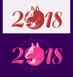 2018 happy new year dog symbol typographic vector image