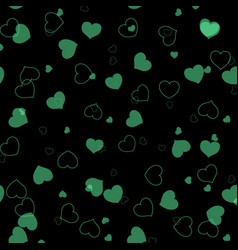 Abstract seamless green pattern with hearts vector