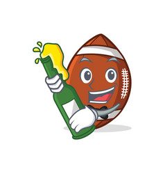 American football character cartoon with beer vector