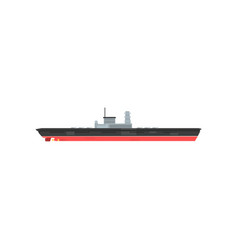 Armed military boat with radar and lot of cannons vector