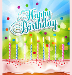 background for birthday with a cake and candles vector image