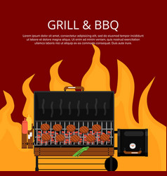 Barbecue party poster with steaks on grill vector