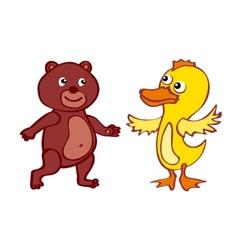 Bear duck File EPS10 Hand-drawn cartoon icon vector
