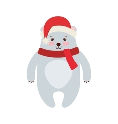 bear winter clothes character vector image