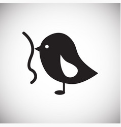 bird with worm on white background vector image